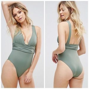 ASOS fuller bust plunge one piece swimsuit